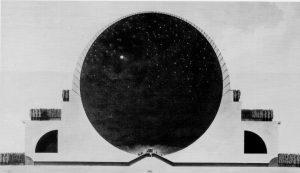 האנדרטה (קינוטף) לסיר אייזיק ניוטון, אטיין-לואי בולה, 1784, חתך המבנה