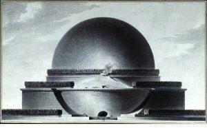 האנדרטה (קינוטף) לסיר אייזיק ניוטון, אטיין-לואי בולה, 1784, חזית המבנה
