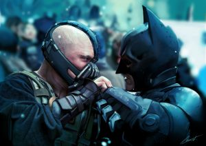 Cinemas, 2012 // The Dark Knight Rises by Christopher Nolan // Two masks representing two different, diametrically opposing, social and psychological structures, at conflict // The Superhero Batman & the villain, Bane.