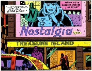 """ביצירת המופת של אלאן מור """"השומרים"""" (Watchmen) (1986), בהווה אלטרנטיבי דיסטופי, הבושם הטרנדי ביותר – והעל-זמני – הוא """"נוסטלגיה"""". תמונה מתוך הקומיקס המקורי."""
